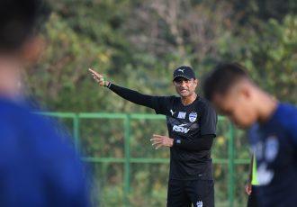 Bengaluru FC's Naushad Moosa in training. (Photo courtesy: Bengaluru FC)