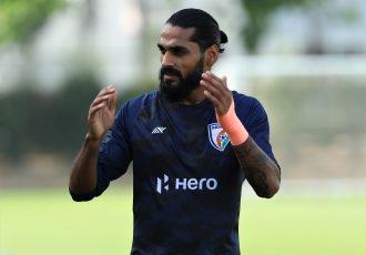 Indian national team defender Sandesh Jhingan in training. (Photo courtesy: AIFF Media)