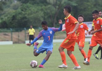 Shubho Paul in action for the India U-16 national team. (Photo courtesy: AIFF Media)