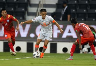 Indian national team skipper Sunil Chhetri in action against Bangladesh in the FIFA World Cup Qatar 2022 and AFC Asian Cup China 2023 Qualifiers. (Photo courtesy: AIFF Media)