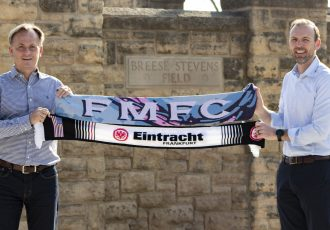 Armin Kraaz (Head of International Sports Projects Americas, Eintracht Frankfurt) and Conor Caloia (COO & Owner, Forward Madison). (Photo courtesy: Eintracht Frankfurt)