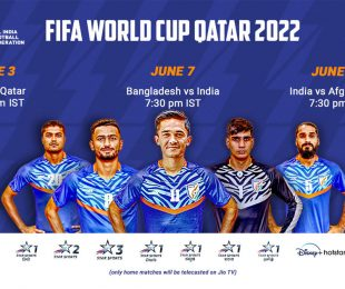 Telecast details for India's FIFA World Cup Qatar 2022 Qualifiers. (Image courtesy: AIFF Media)