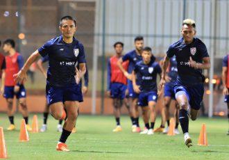 Indian national team skipper Sunil Chhetri (left) in training. (Photo courtesy: AIFF Media)