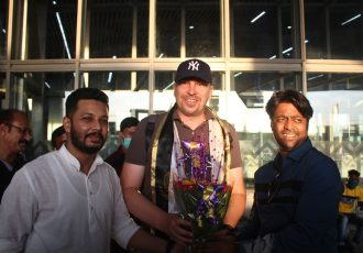 Andrey Alekseyevich Chernyshov is welcomed by Mohammedan Sporting Club officals. (Photo courtesy: Mohammedan Sporting Club)