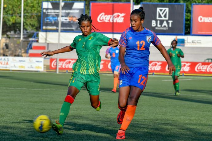 Manisha Kalyan in action for the Indian women's national team. (Photo courtesy: AIFF Media)