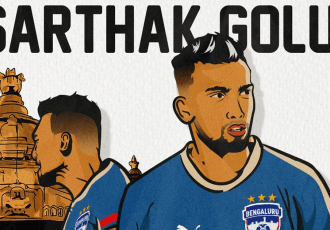 Bengaluru FC present their new defender Sarthak Golui. (Image courtesy: Bengaluru FC)