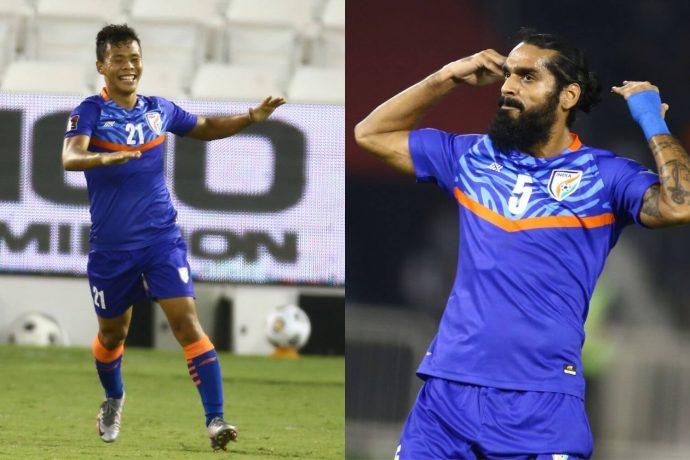 Indian national team midfielder Suresh Singh Wangjam and defender Sandesh Jhingan. (Photo courtesy: AIFF Media)