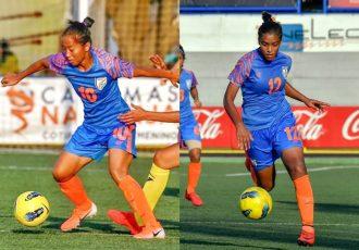 AIFF Women's Footballer of the Year Bala Devi and AIFF Women's Emerging Footballer of the Year Manisha Kalyan. (Photo courtesy: AIFF Media)
