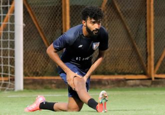 India midfielder Glan Martins in training. (Photo courtesy: AIFF Media)