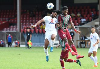 Match action between Bengaluru FC and ATK Mohun Bagan FC in the Group D opener of the 2021 AFC Cup at the National Stadium in Maldives. (Photo courtesy: Bengaluru FC)