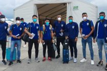 Indian national team squad members at their arrival at the Tribhuvan International Airport in Kathmandu, Nepal. (Photo courtesy: AIFF Media)