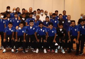The Indian national team with the dignitaries of the Government of West Bengal, the All India Football Federation (AIFF) and the Indian Football Association (IFA). (Photo courtesy: AIFF Media)