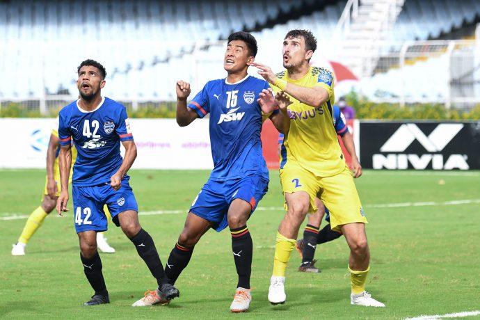 Bengaluru FC defender Wungngayam Muirang in action against Kerala Blasters FC in a Durand Cup 2021 match at the Vivekananda Yuba. (Photo courtesy: Bengaluru FC)