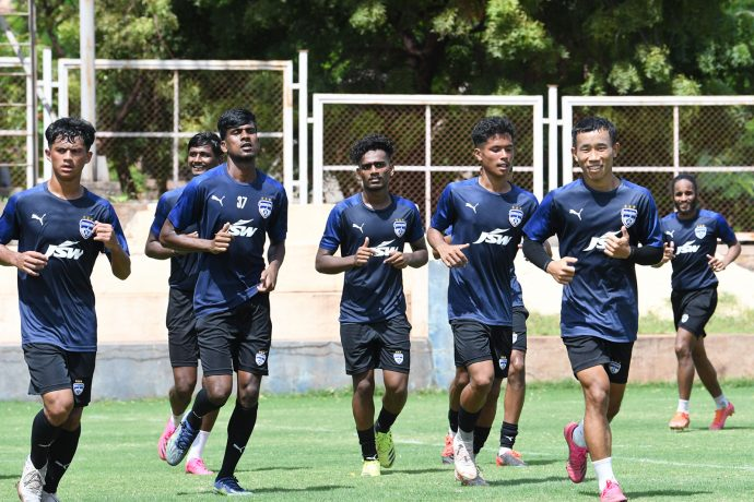 Bengaluru FC players in training at the Inspire Institute of Sport, in Bellary, ahead of their 2021 Durand Cup campaign. (Photo courtesy: Bengaluru FC)