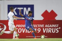 Indian national team striker Farukh Choudhary in action against Nepal in an international friendly match. (Photo courtesy: AIFF Media)