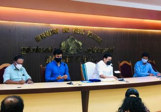 Press conference by the Government of Kerala and the All India Football Federation (AIFF) to announce a collaboration on multiple football development projects. (Photo courtesy: AIFF Media)