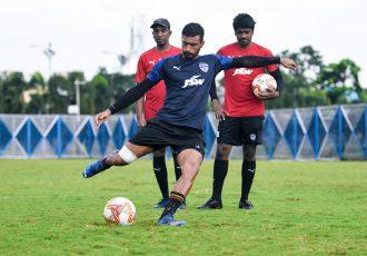 Bengaluru FC forward Harmanpreet Singh in training at the Salt Lake Stadium Training Ground. (Photo courtesy: Bengaluru FC)