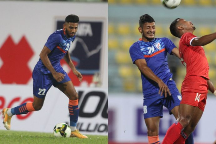 Indian national team debutants Rahim Ali and Seriton Fernandes in action against Nepal on September 2, 2021. (Photo courtesy: AIFF Media)