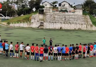 Mizoram State Team head coach Samson Ramengmawia with his probables. (Photo courtesy: Mizoram Football Association)
