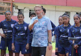Indian women's national team head coach Thomas Dennerby in training. (Photo courtesy: AIFF Media)