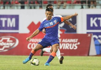 Indian national team captain Sunil Chhetri in action against Nepal in an international friendly match on September 5, 2021. (Photo courtesy: AIFF Media)