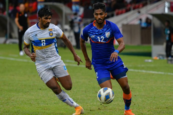 Indian national team midfielder Farukh Choudhary in action against Sri Lanka in the SAFF Championship 2021. (Photo courtesy: AIFF Media)