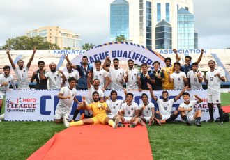 Rajasthan United FC players and officials celebrate their promotion to the Hero I-League. (Photo courtesy: AIFF Media)