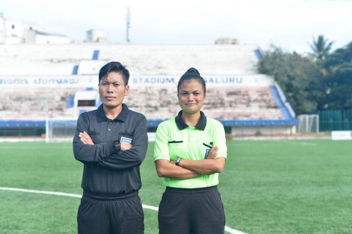 Hero I-League referee Ranjita Devi Tekcham and assistant referee Ri-iolang Dhar. (Photo courtesy: AIFF Media)
