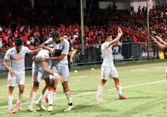 Indian national team players celebrate Manvir Singh's goal against the Maldives in the SAFF Championship 2021. (Photo courtesy: AIFF Media)