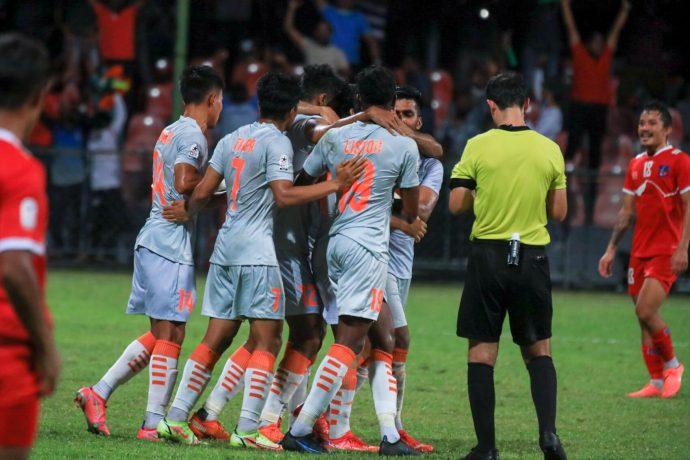 Indian national team players celebrate Sunil Chhetri's goal against Nepal in the SAFF Championship 2021. (Photo courtesy: AIFF Media)