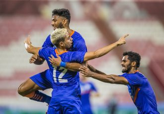 India U-23 national team players celebrate a goal in the AFC U-23 Asian Cup Qualifiers. (Photo courtesy: AIFF Media)