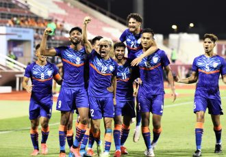 The India U-23 national team celebrate their win against Oman in the AFC U-23 Asian Cup Qualifiers. (Photo courtesy: AIFF Media)