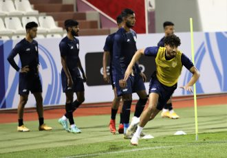 India U-23 national team players during their pre-match warm-up. (Photo courtesy: AIFF Media)