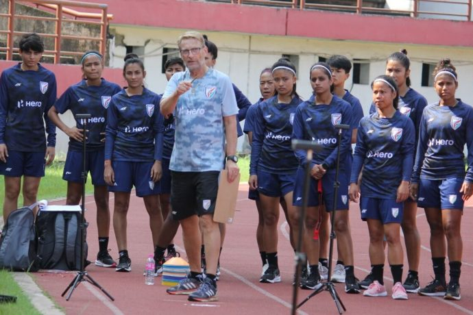 Indian Women's national team head coach Thomas Dennerby and his squad in training. (Photo courtesy: AIFF Media)