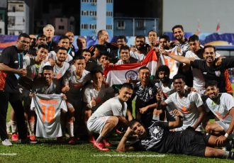 The Indian national team players and staff celebrate after winning the SAFF Championship 2021. (Photo courtesy: AIFF Media)