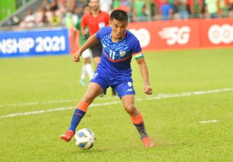 Indian national team captain Sunil Chhetri in action at the SAFF Championship 2021. (Photo courtesy: AIFF Media)